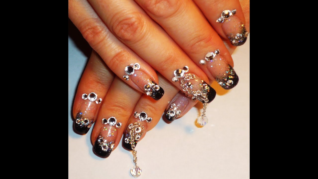 Extra Bling Nail Art Design - YouTube