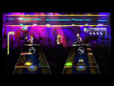 """Rock Band 3 """"Glory of Love"""" by Peter Cetera, 100% Expert 3 players, with lyrics"""