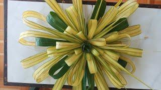 Cách làm hoa treo cổng đám cưới bằng lá dừa #TOITNT