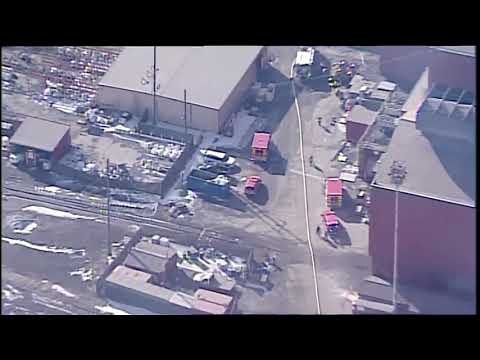 Firefighters clean up after fire at AK Steel in Middletown