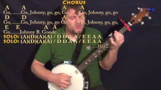 Johnny B. Goode (Chuck Berry) Banjo Cover Lesson with Chords/Lyrics - Capo 1st