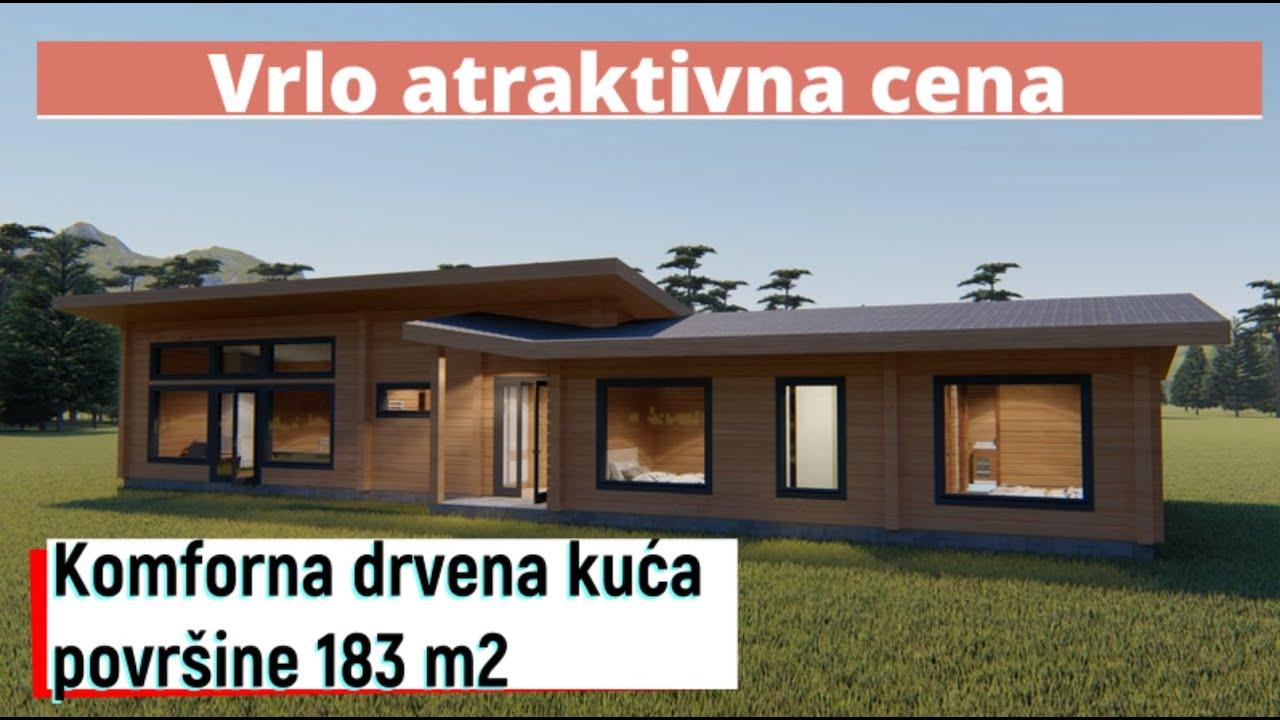 3D vizualizacija našeg novog jednospratnog projekta kuće od lepljenog drveta od 183 m2.