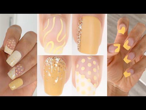 CUTE & EASY NAIL IDEAS | new nail art designs compilation - yellow nails - YouTube