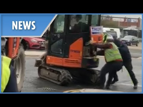 'Unpaid labourer' destroys Travelodge with a digger