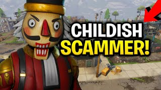 Lying Childish Scammer Scams Himself! (130s?) (Scammer Get Scammed) Fortnite Save The World