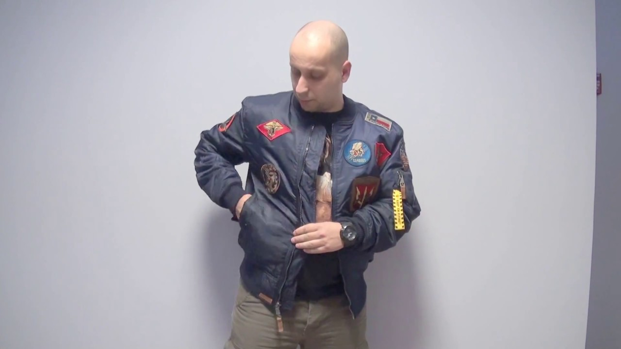 f3485b044b6 Куртка бомбер Top Gun MA-1 Nylon Bomber Jacket With Patches - YouTube