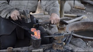 How to punch and drift an axe eye by hand. Axe making - blacksmithing