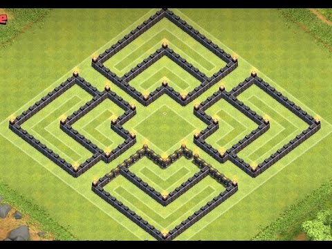 CLASH OF CLANS TH8 WAR BASE / TOWN HALL 8 DEFENCE ANTI DRAGON, ANTI HOGS 2015