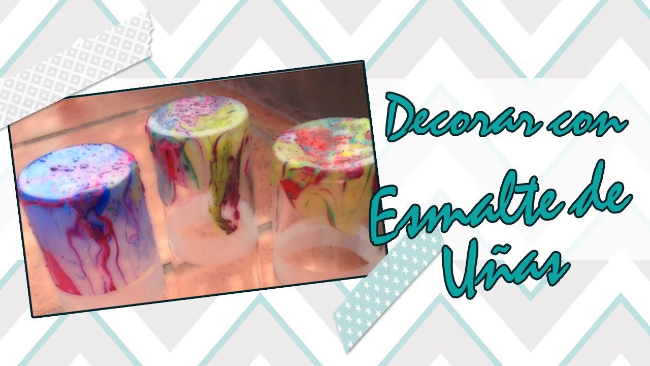 Vasos decorados con esmaltes de u as youtube - Decorados de unas ...