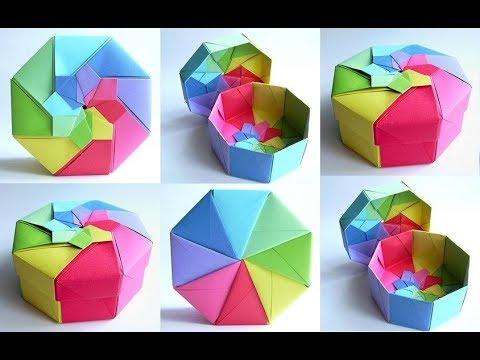 DIY | Octagon origami box - tutorial | jewelry box | 5 minute craft | paper craft | Desk Organizer