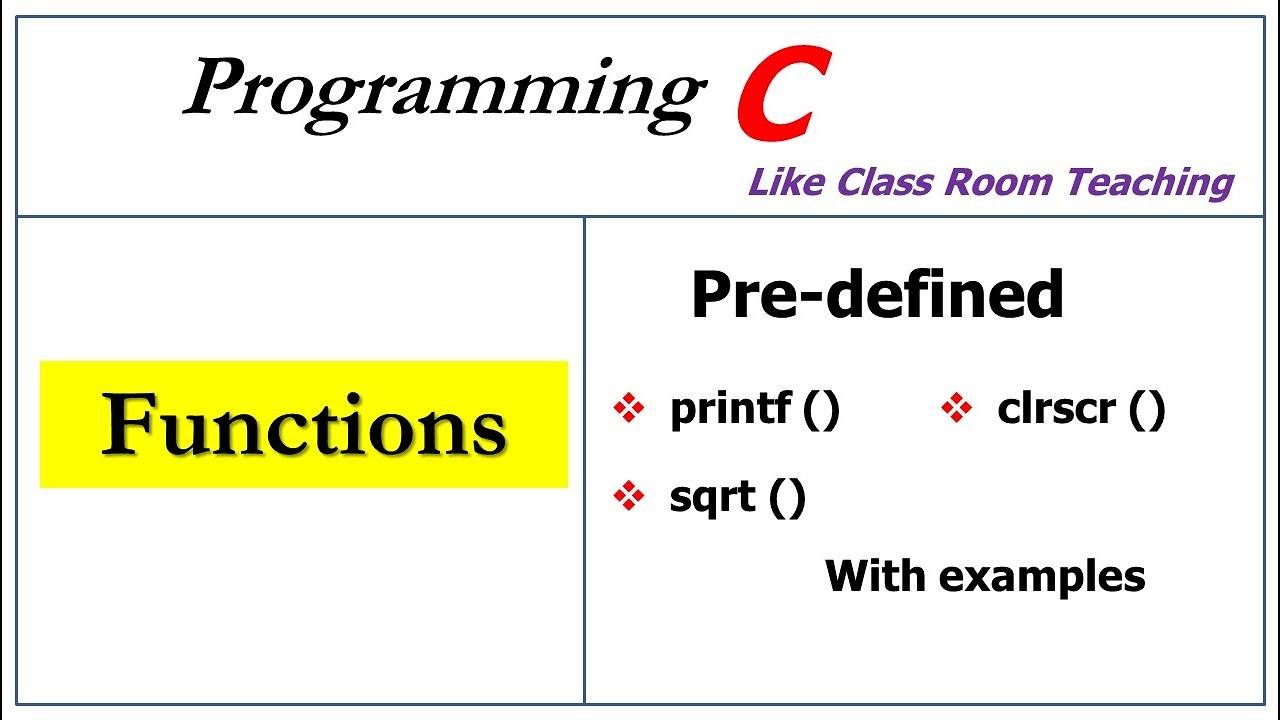 functions in c programming   predefined function  