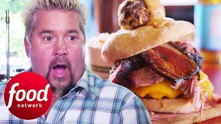 Guy Fieri Tastes The BBQ Meat-Filled WTF Burger   Diners, Drive-Ins & Dives