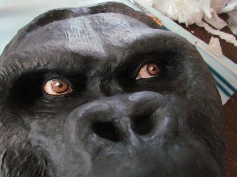 Gorilla Mask, Made with Plaster Cloth, Paper Mache and Air Dry Clay
