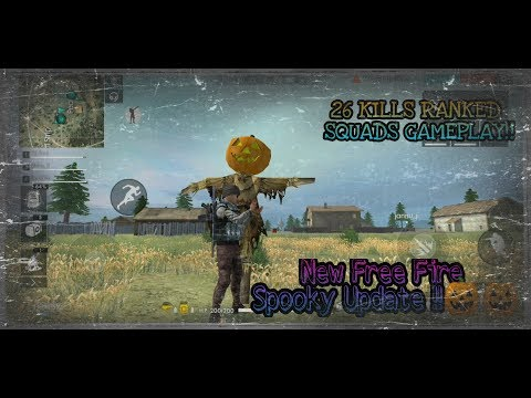 NEW HALLOWEEN UPDATE IN FREE FIRE !! 26 KILLS RANKED SQUADS GAMEPLAY!! Free Fire Battlegrounds !!!