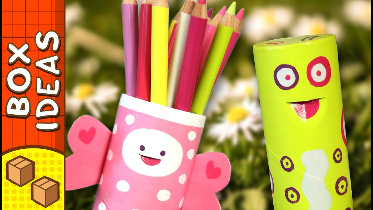 Craft Ideas For Kids Videos Part - 20: DIY Pencil Case - Caterpillar Butterfly | Craft Ideas For Kids On Box  Yourself - YouTube