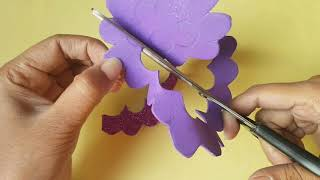 Foam Sheet Flowers Making | How to make Glitter Foam Sheet Flower Easy Step by Step Tutorial at Home