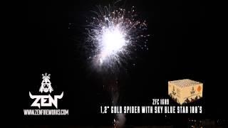 "ZEN FIREWORKS 1,2"" GOLD SPIDER WITH SKYBLUE STAR 100"