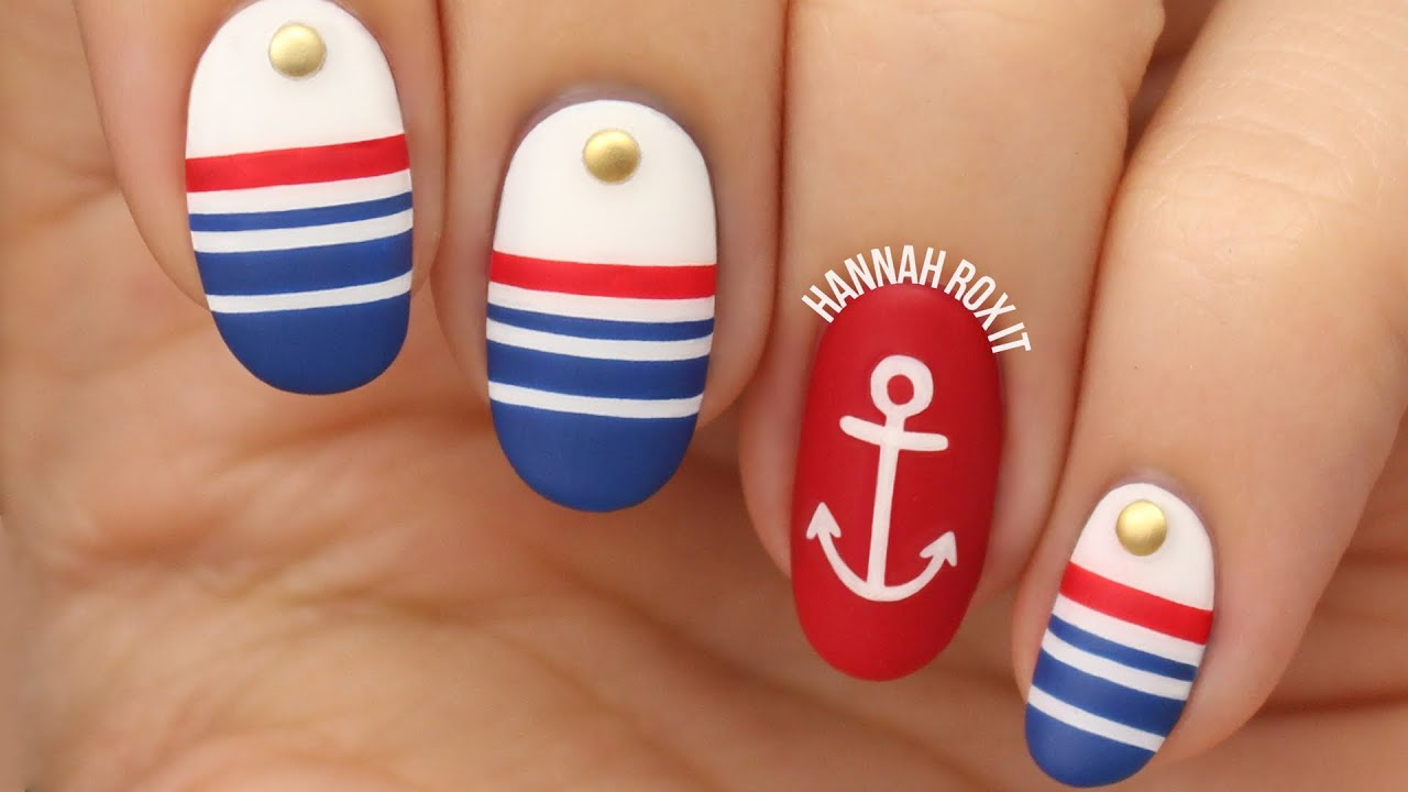 Nautical Sailor Nail Art - YouTube