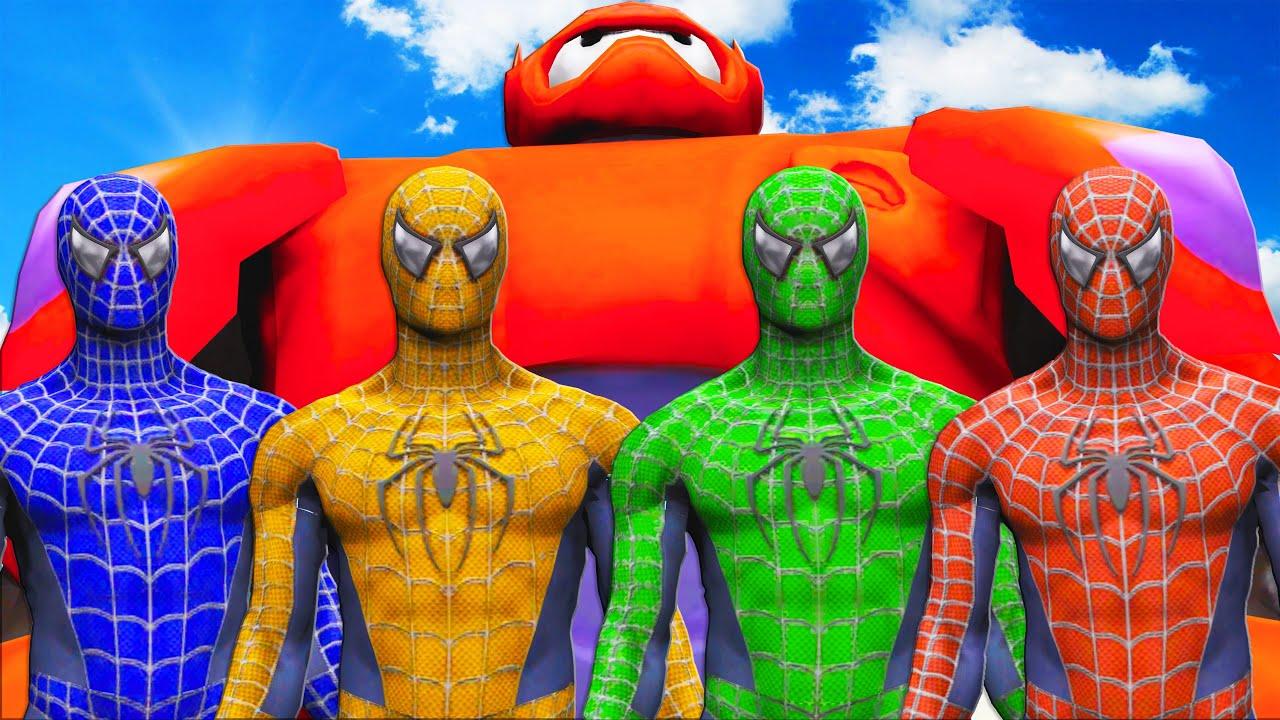 TEAM SPIDER-MAN VS BAYMAX (Big Hero 6) - Epic Superheroes Battle