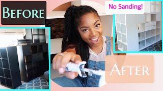 How to paint DIY laminate IKEA furniture NO SANDING NEEDED! SIMPLE for beginners // kallax bookshelf