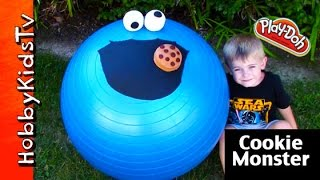 Mega GIANT Cookie Monster Play-Doh Head Surprise! Chocolate Egg Toy Story HobbyKidsTV