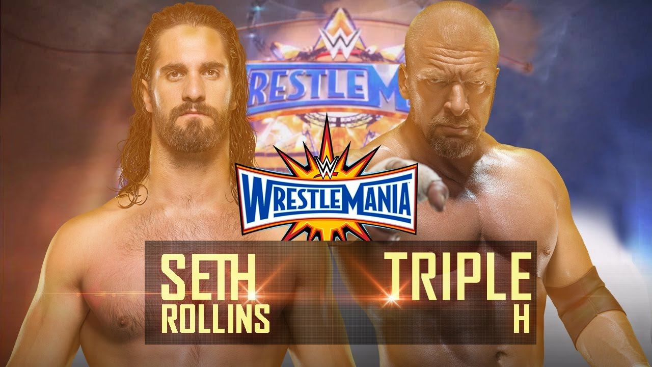 Znalezione obrazy dla zapytania Seth Rollins vs. Triple H wrestlemania 33