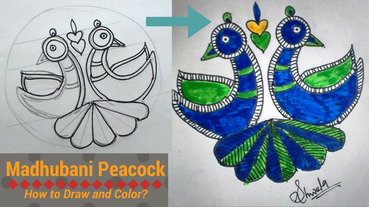 madhubani peacock how to draw and color diy youtube