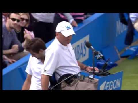 David Nalbandian kicks Linesman in Queens Final - What a Shame!