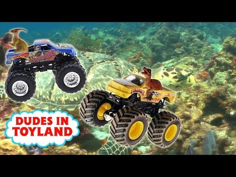 Monster trucks for children dinosaur toys ocean toy videos sharks for kids Monster Jam