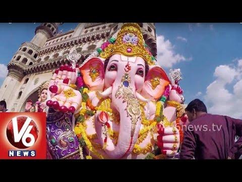 Ganesh Nimajjanam 2015 || Exclusive Visuals Of Ganesh Shoba Yatra In Hyderabad ||  V6 News