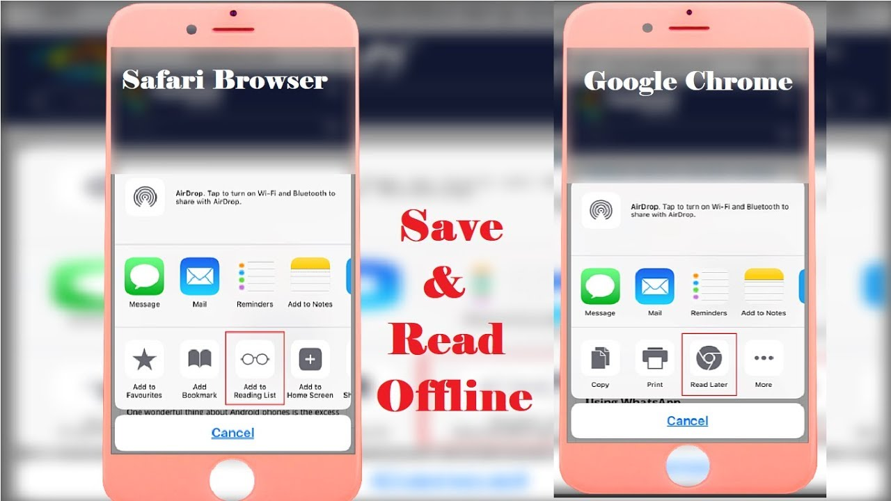 How to Save Articles for Offline Reading in Safari and Google Chrome  browser on Iphone 2018