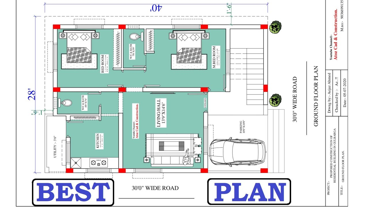 28x40 12 Lakh Budgets 2bhk House Plan With Car Parking Youtube