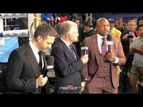 JIM LAMPLEY, ROY JONES & MAX KELLERMAN'S EMOTIONAL EMBRACE IMMEDIATELY AFTER FINAL HBO SHOW