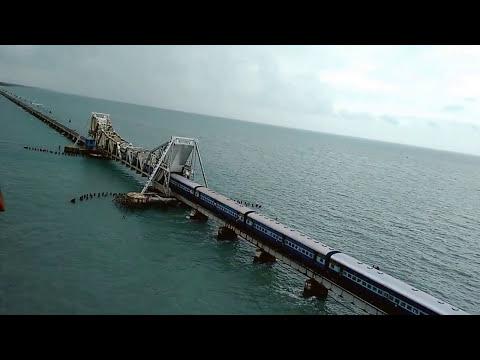 Train on Pamban bridge - India's first sea bridge