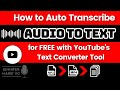 Gambar cover How to Convert / to Text Automatically for FREE using YouTube's Text Subtitles Converter