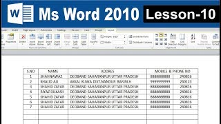 How to create table and Format table in ms word 2010