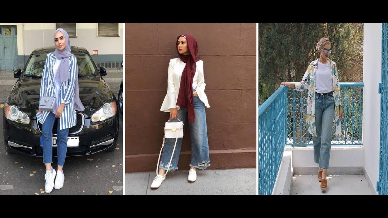ستايلات حجاب عصرية بالجينز لصيف 2019   Hijab jeans Outfits   LOOKBOOK  