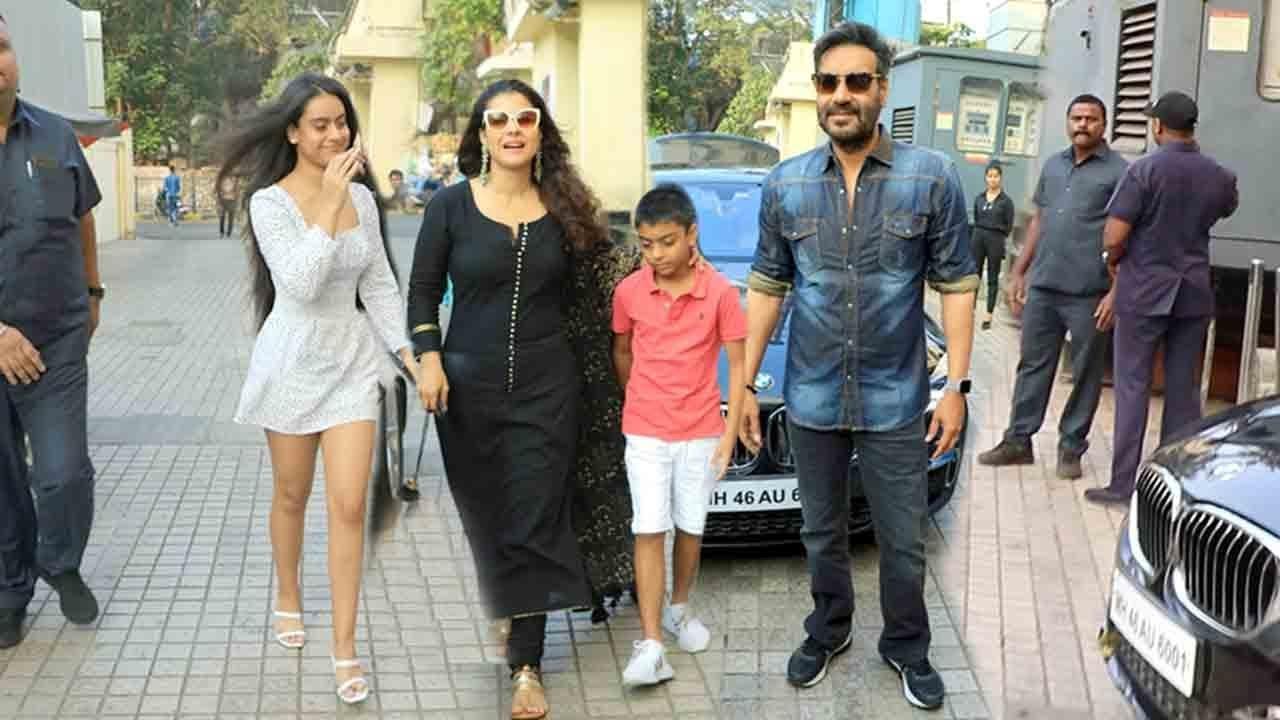 Ajay Devgan & Kajol With Family- Daughter Nysa Devgn & Son Yug D. @Tanhaji GRAND Premiere - YouTube