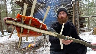 Bow Fishing with Stone Age Tools ASMR (Silent) | Bone Arrow, Bushcraft Shelter, Axe, Saw, Fire