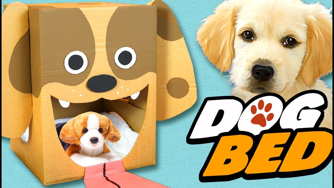 Diy dog bed cardboard craft ideas for kids box for Make a cat bed out of a box