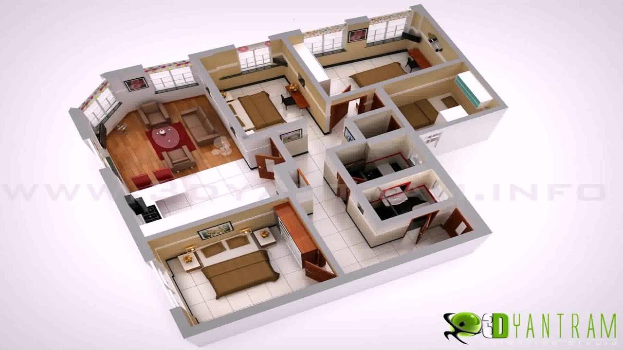 Low Budget Modern 3 Bedroom House Design Floor Plan 3d