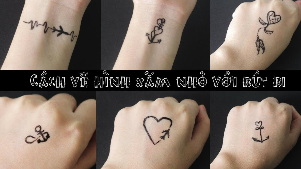 Vẽ hình xăm bằng bút bi đơn giản- how to make tattoo at home with pen