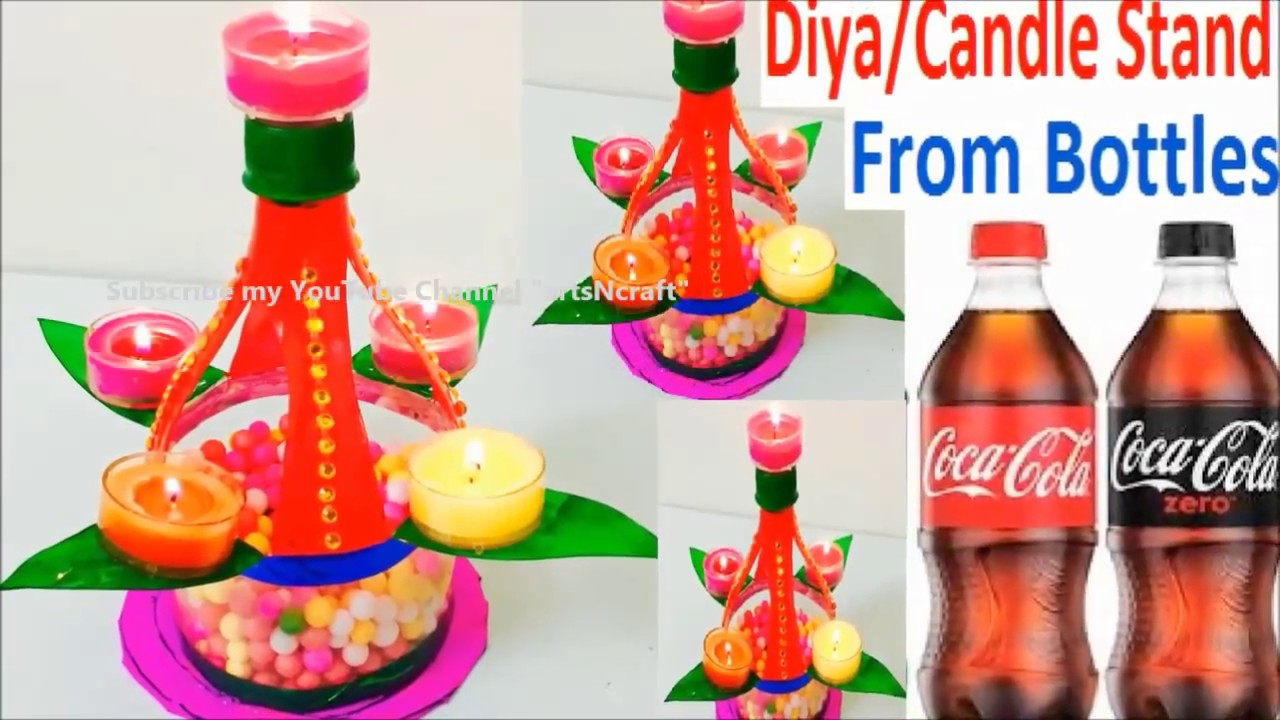 Diwali Decoration craft from Plastic bottles | Diya & Candle stand ...