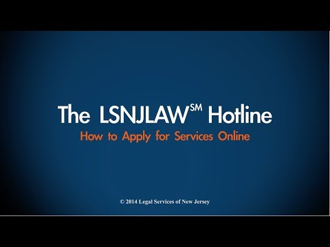 The LSNJLAW Hotline: Apply Online!