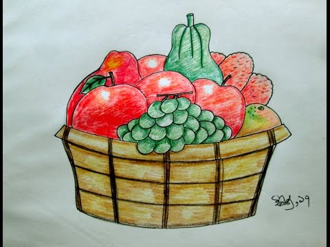 how to draw fruit basket step by step