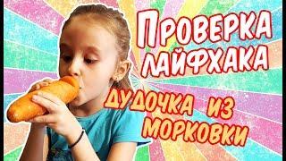пРОВЕРКА ЛАЙФХАКОВ / ДУДОЧКА ИЗ МОРКОВКИ / РЕАЛЬНЫЙ ЛАЙФХАК / ДЛЯ ДЕТЕЙ