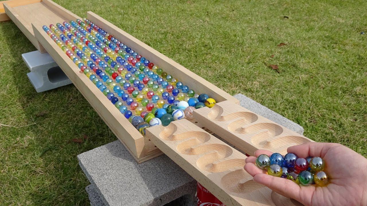 Marble Run Race ASMR ☆ Handmade Wooden Long Course & Marble Run Rolling Ball