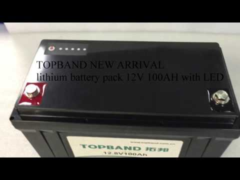 TOPBAND lithium battery pack 12V 100AH with LED gauge
