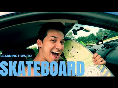 FIRST TIME ON A SKATEBOARD!!