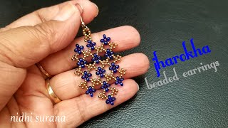 ⚜️ Jharokha, Beaded Earrings || DIY Seed bead earrings/ aretes tutorial (0237)
